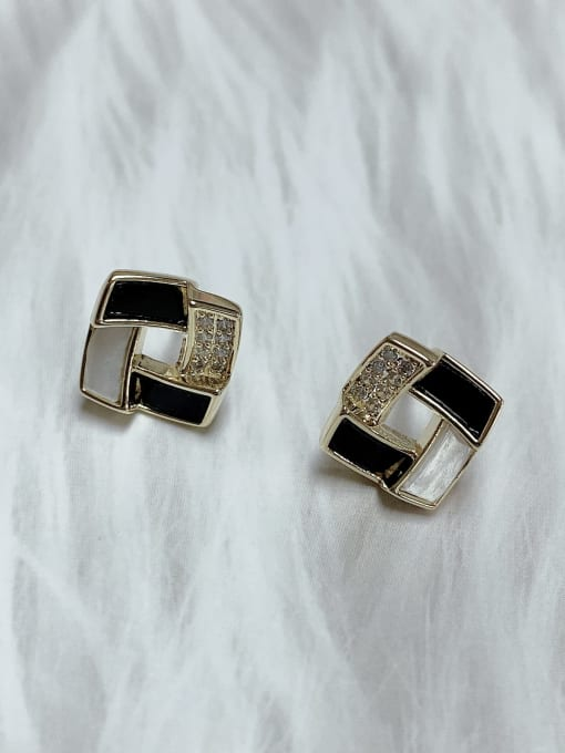 KEVIN Brass Cubic Zirconia Acrylic Irregular Classic Stud Earring