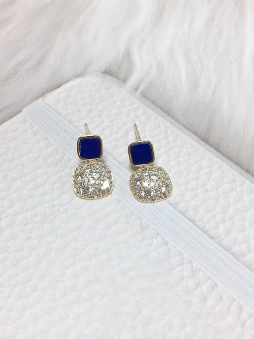 Blue Brass Cubic Zirconia Acrylic Square Dainty Stud Earring