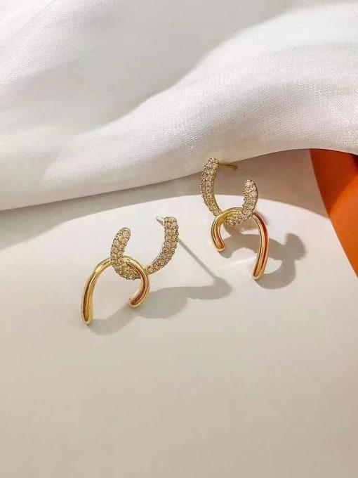 KEVIN Zinc Alloy Rhinestone Irregular Trend Stud Earring 0