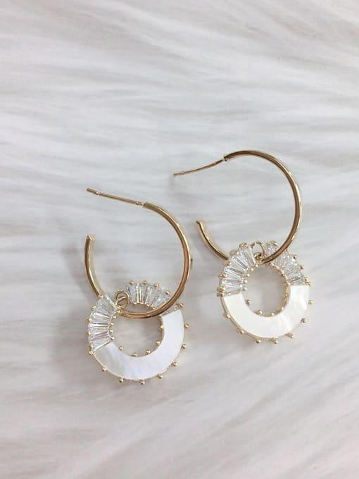 KEVIN Brass Shell Cone Trend Hook Earring
