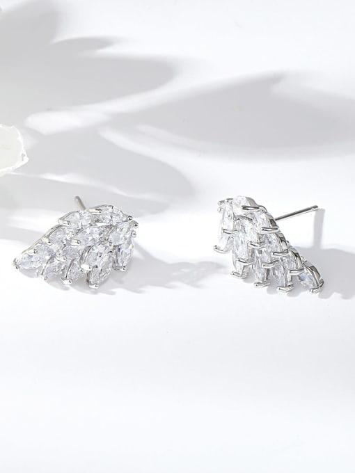 KEVIN Brass Cubic Zirconia Wing Dainty Stud Earring