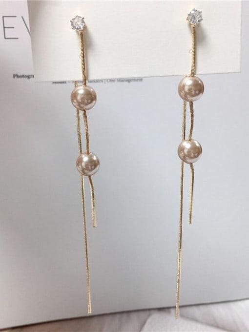 KEVIN Zinc Alloy Imitation Pearl Tassel Trend Threader Earring 0