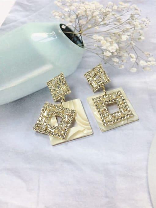 KEVIN Zinc Alloy Cubic Zirconia Acrylic Irregular Trend Drop Earring