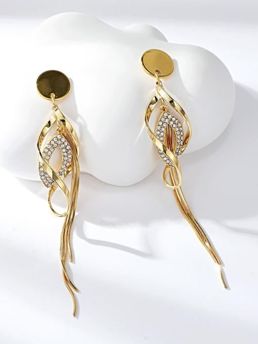 Gold Zinc Alloy Rhinestone Tassel Dainty Drop Earring