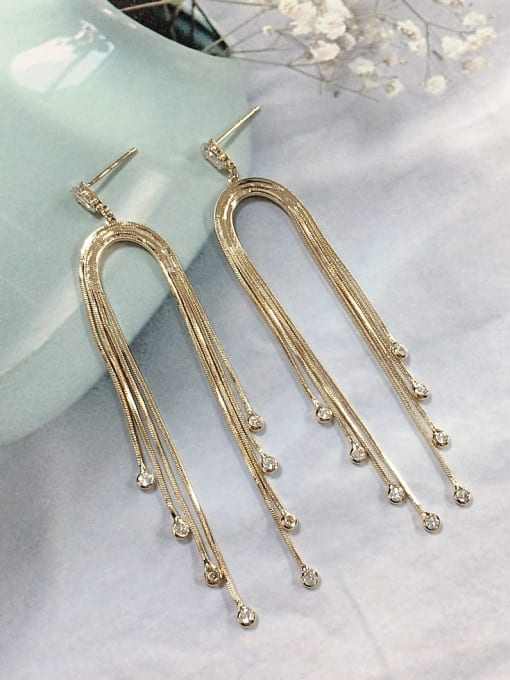 KEVIN Zinc Alloy Cubic Zirconia Tassel Trend Threader Earring 0