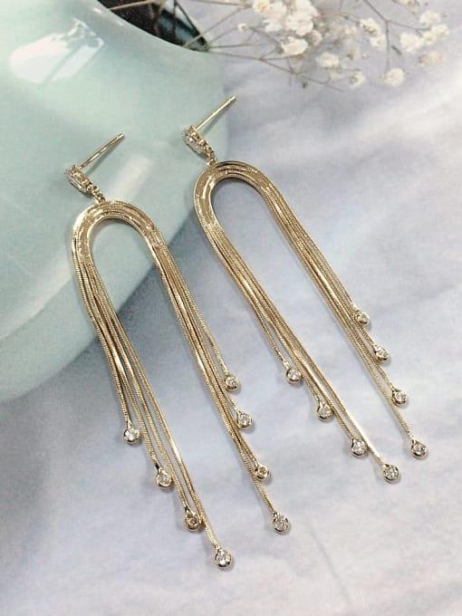 KEVIN Zinc Alloy Cubic Zirconia Tassel Trend Threader Earring