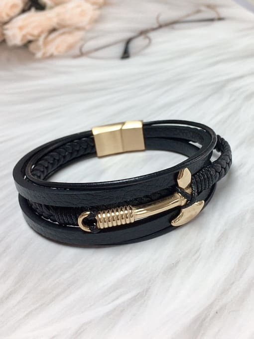 Gold Stainless steel Leather Religious Trend Bracelet