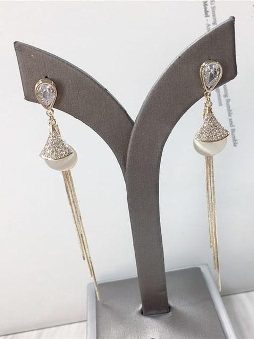 KEVIN Brass Cats Eye Tassel Trend Threader Earring