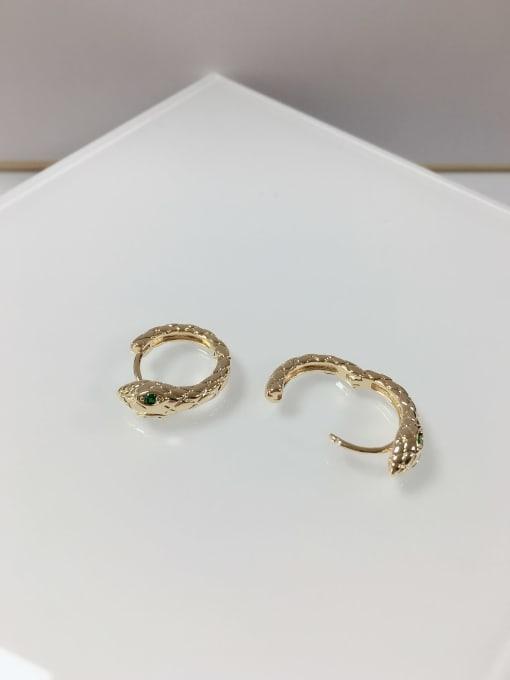 KEVIN Zinc Alloy Rhinestone Snake Dainty Huggie Earring 1