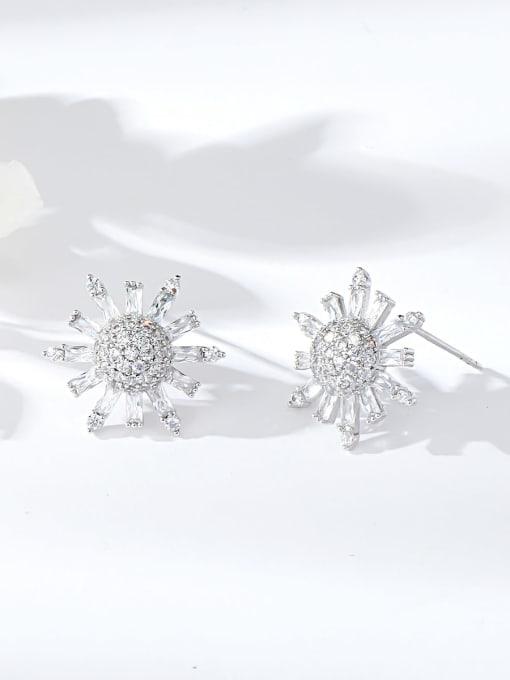 KEVIN Brass Cubic Zirconia Moon Dainty Stud Earring