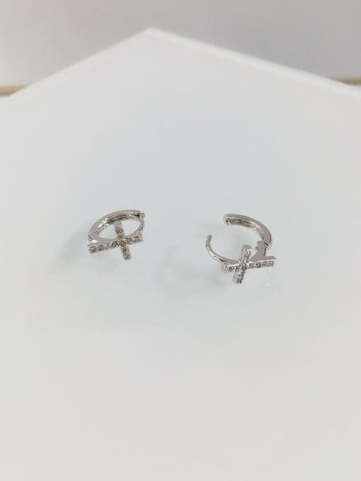 KEVIN Brass Cubic Zirconia Cross Dainty Huggie Earring 1