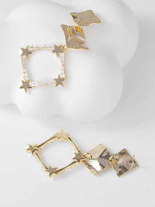 KEVIN Brass Cubic Zirconia Square Trend Drop Earring 1