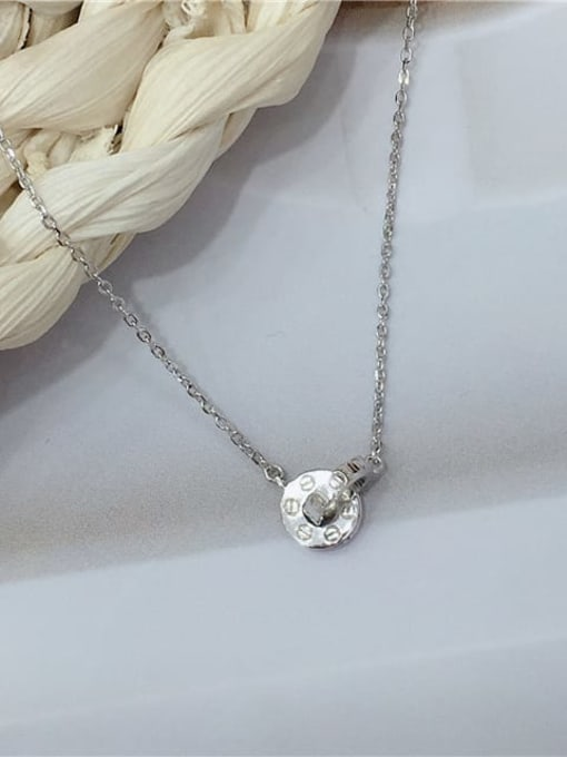 KEVIN 925 Sterling Silver Geometric Dainty Initials Necklace