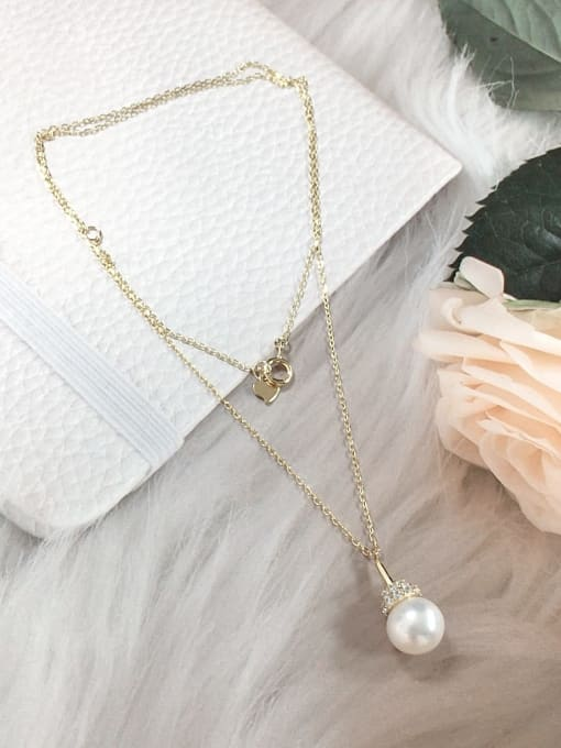KEVIN 925 Sterling Silver Freshwater Pearl Ball Dainty Initials Necklace