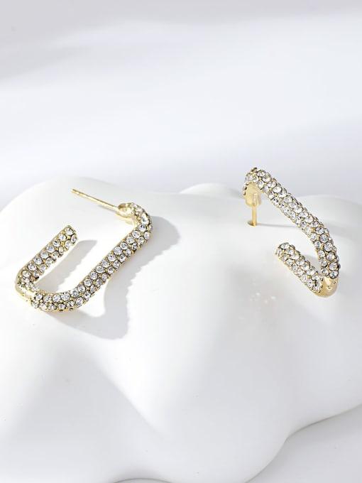 KEVIN Zinc Alloy Rhinestone Hook Trend Stud Earring