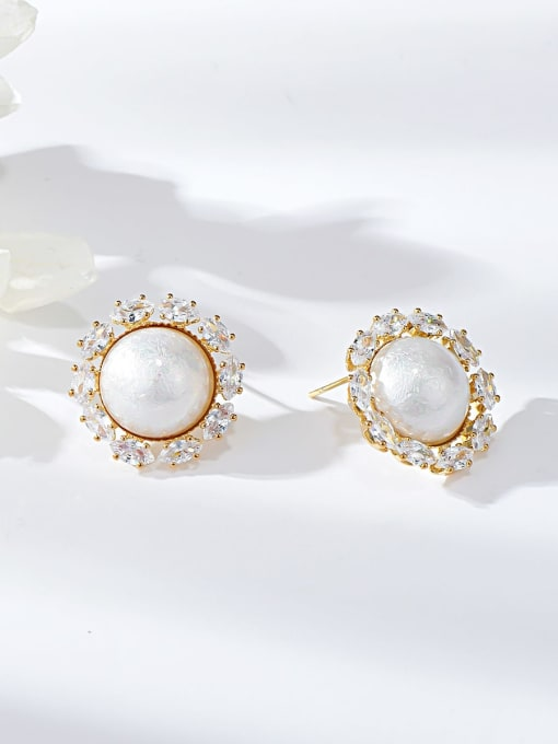 KEVIN Brass Resin Round Dainty Stud Earring
