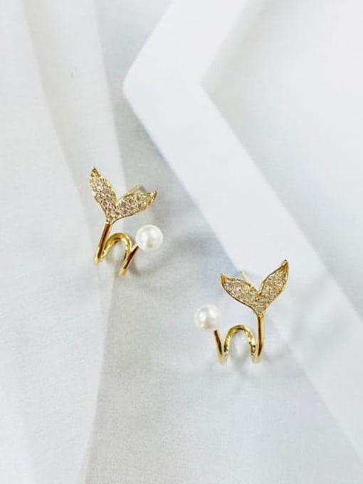 KEVIN Brass Cubic Zirconia Irregular Minimalist Stud Earring