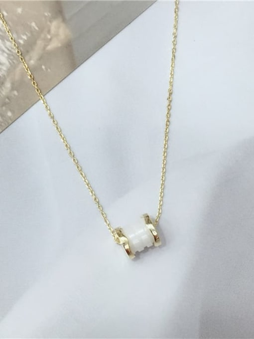 KEVIN 925 Sterling Silver Porcelain Round Dainty Initials Necklace