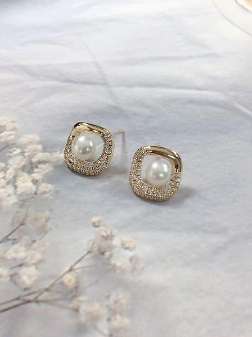 KEVIN Brass Imitation Pearl Irregular Dainty Stud Earring 0