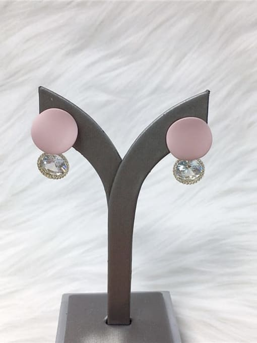 Pink Zinc Alloy Cubic Zirconia Enamel Water Drop Trend Drop Earring