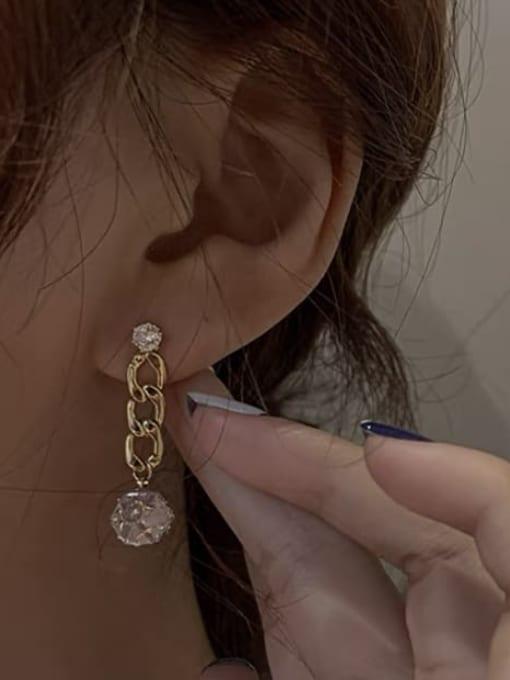 KEVIN Brass Cubic Zirconia Rectangle Trend Drop Earring 1