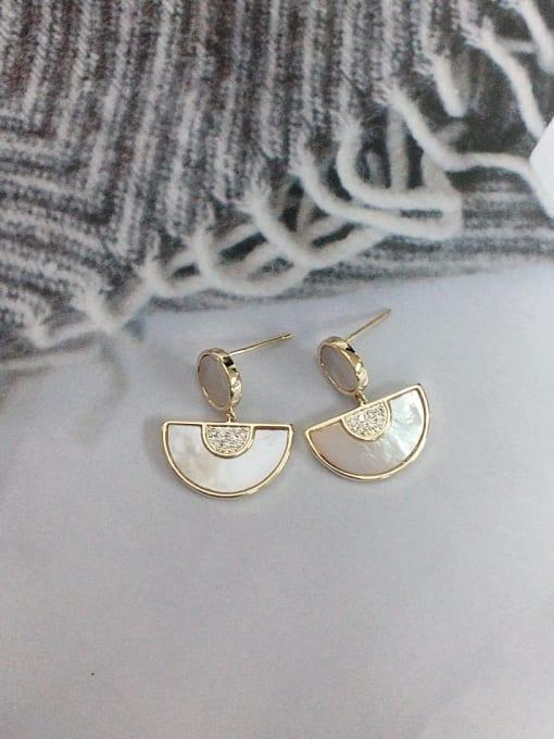 KEVIN Brass Shell Geometric Trend Drop Earring 1