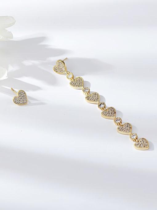 Gold Brass Cubic Zirconia Heart Minimalist Drop Earring