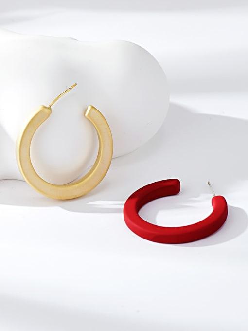 Red Zinc Alloy Round Minimalist Stud Earring