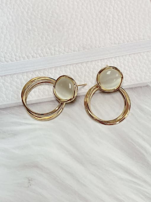 KEVIN Brass Cats Eye Round Classic Drop Earring 1