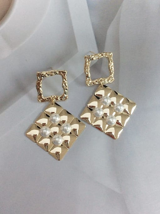 KEVIN Zinc Alloy Imitation Pearl Square Trend Drop Earring 0