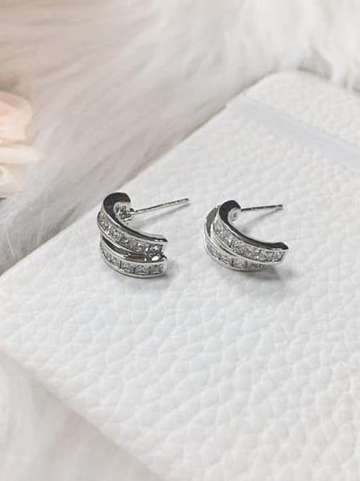 Silver Brass Cubic Zirconia Irregular Minimalist Stud Earring