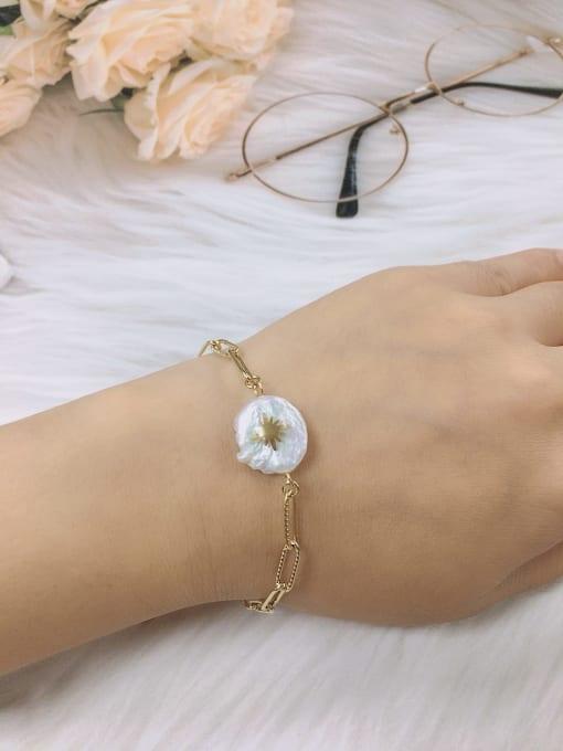 KEVIN Stainless steel Imitation Pearl Irregular Minimalist Link Bracelet 1