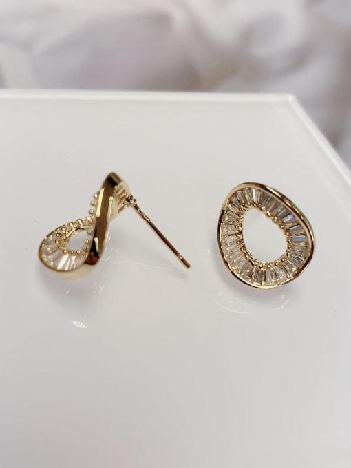 KEVIN Brass Cubic Zirconia Geometric Minimalist Stud Earring 1
