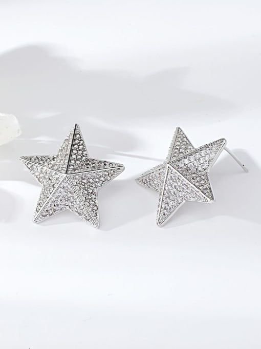 KEVIN Brass Cubic Zirconia Star Dainty Stud Earring