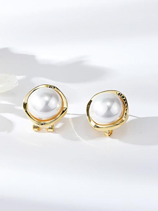 KEVIN Zinc Alloy Imitation Pearl Square Minimalist Clip Earring 0