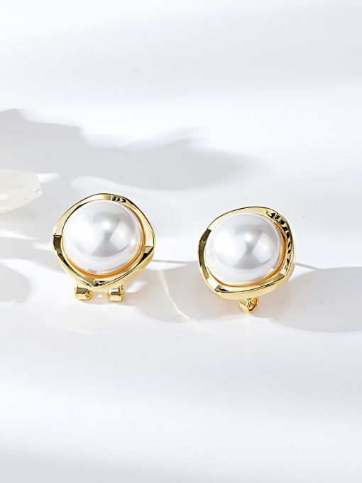 KEVIN Zinc Alloy Imitation Pearl Square Minimalist Clip Earring