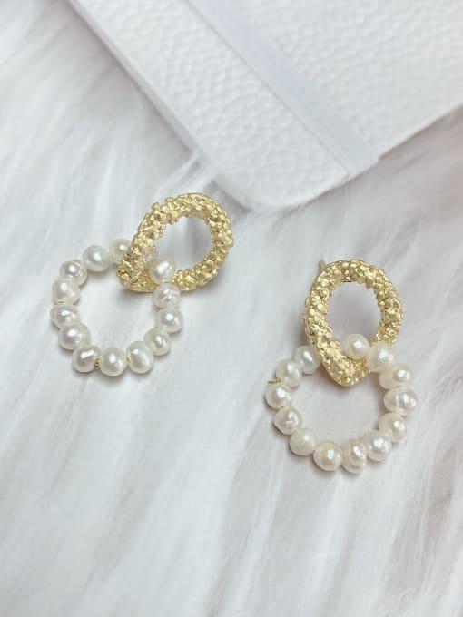 KEVIN Zinc Alloy Imitation Pearl Oval Trend Drop Earring 0
