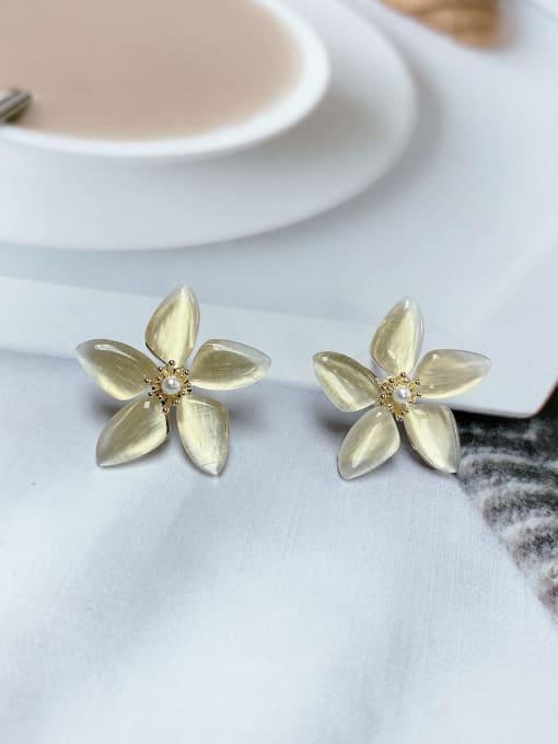 KEVIN Brass Cats Eye Flower Trend Stud Earring 1