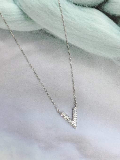 KEVIN 925 Sterling Silver Cubic Zirconia Letter Dainty Initials Necklace 0