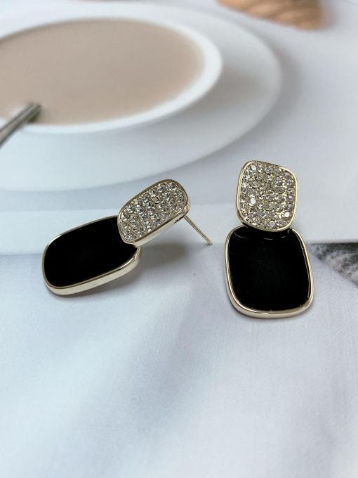 KEVIN Zinc Alloy Rhinestone Acrylic Rectangle Classic Drop Earring 1