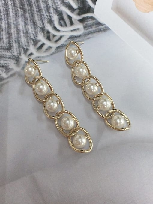 KEVIN Zinc Alloy Imitation Pearl Irregular Trend Drop Earring 0