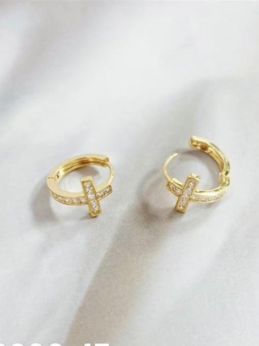 KEVIN Brass Rhinestone Cross Minimalist Huggie Earring