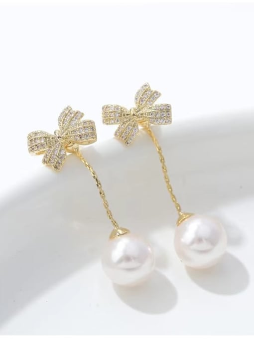 KEVIN Brass Imitation Pearl Bowknot Trend Drop Earring 0