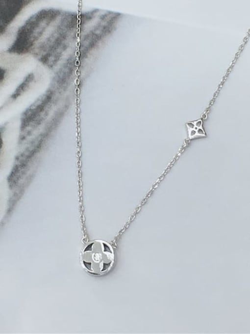 KEVIN 925 Sterling Silver Cubic Zirconia Clover Dainty Initials Necklace