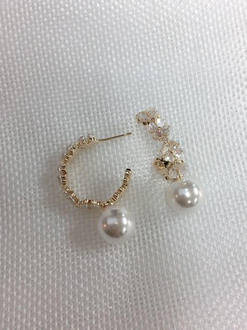 KEVIN Brass Imitation Pearl Cone Trend Hoop Earring 1