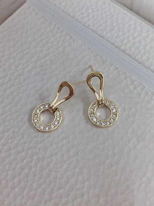 Gold Brass Cubic Zirconia Cone Dainty Stud Earring