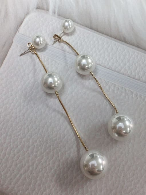 KEVIN Zinc Alloy Imitation Pearl Round Statement Threader Earring 0