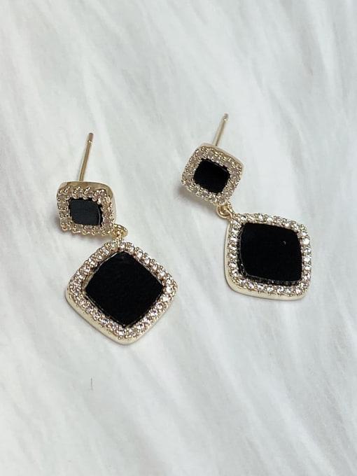 Black Brass Cubic Zirconia Acrylic Square Classic Drop Earring