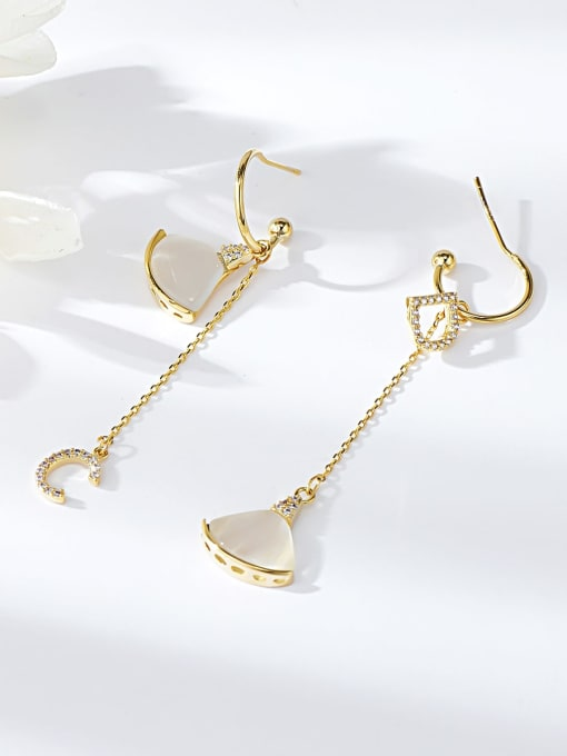 KEVIN Brass Cats Eye Letter Dainty Drop Earring 0