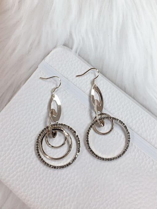 KEVIN Brass Rhinestone Round Trend Drop Earring